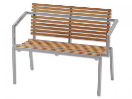aluminium bank mit teak lamellen und armlehne louisiana aluminium gartenm bel design shop. Black Bedroom Furniture Sets. Home Design Ideas