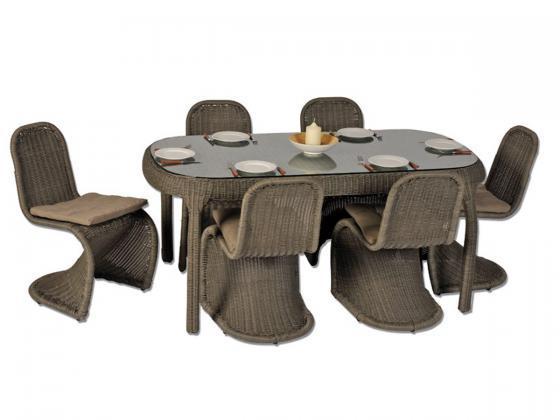 essgruppe rio aus polyrattan 7 tlg inkl polster grau. Black Bedroom Furniture Sets. Home Design Ideas
