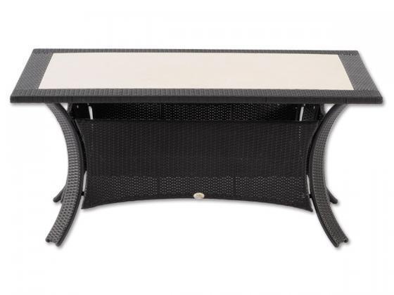 esstisch malta aus polyrattan mit steinplatte schwarz essgruppen design shop. Black Bedroom Furniture Sets. Home Design Ideas