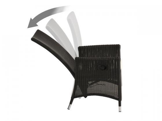 stuhl und beinauflage cayman verstellbare r ckenlehne dunkelbraun loungem bel design shop. Black Bedroom Furniture Sets. Home Design Ideas