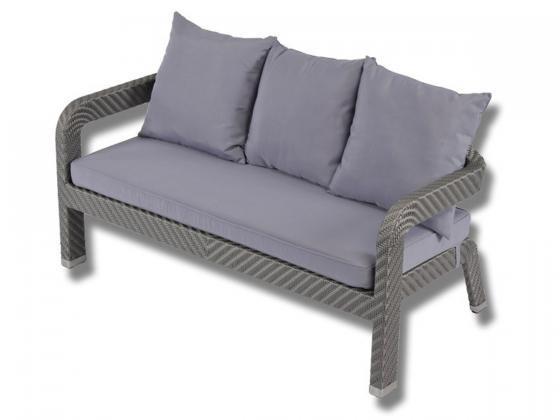 zweiersofa inkl polster maret 2 aus polyrattan grau silber loungem bel design shop. Black Bedroom Furniture Sets. Home Design Ideas