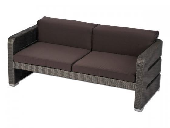 zweiersofa inkl polster nizza 2 aus polyrattan grau loungem bel design shop. Black Bedroom Furniture Sets. Home Design Ideas